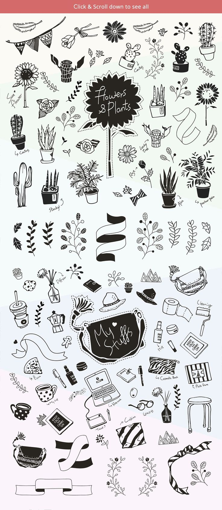 100+ Hand drawn doodles + logo set  by LoftyAA on @creativemarket