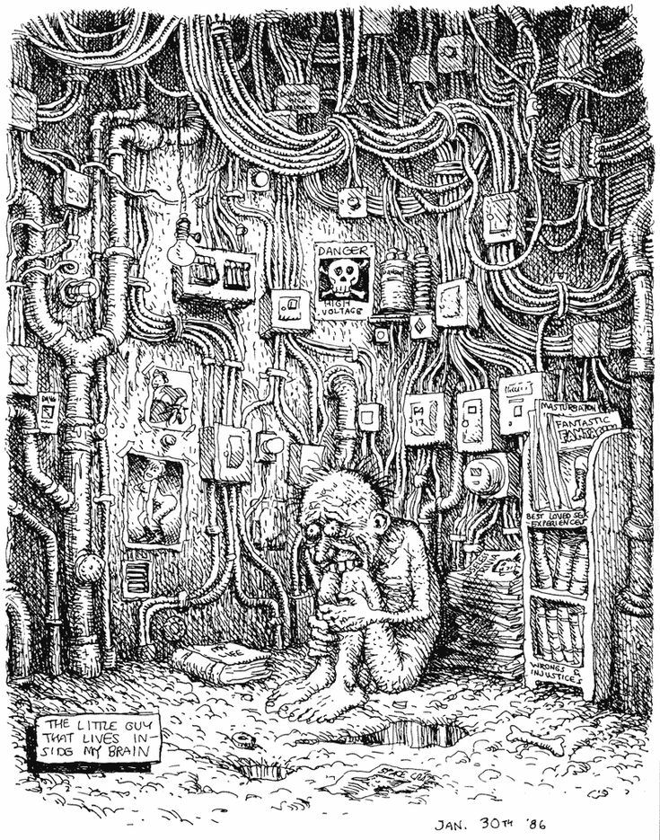 "The little guy inside my brain (1986) #Crumb's father refused to talk to him for several years after seeing some of his raunchier stuff. And one of his sisters once broke a banjo over his head to protest sexism in his work. Cops and judges have been only slightly kinder. They never assaulted the artist; they just banned his works. ""To say this is art is ridiculous,"" said a Maryland judge who ruled a Crumb cartoon obscene in 1970. ""It is a piece of #trash."""