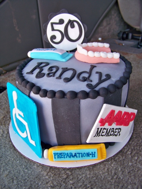 50th birthday cake complete with dentures Fixodent