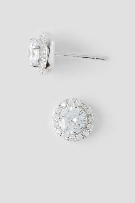 Tina Sterling Silver Crystal Stud Earrings