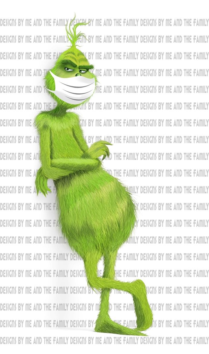 Grinch standing with hospital mask, we are all quarantined