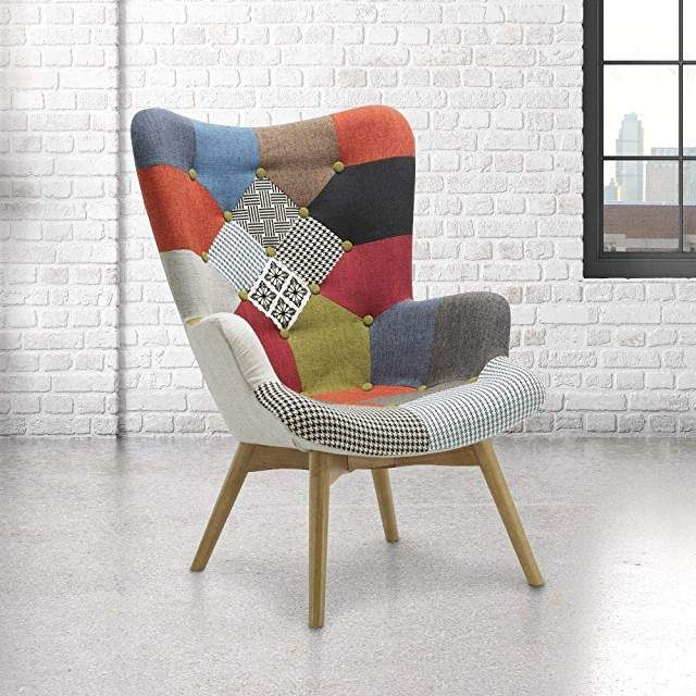 Amazon Co Uk Patchwork Armchairs Upholstered Accent Chairs