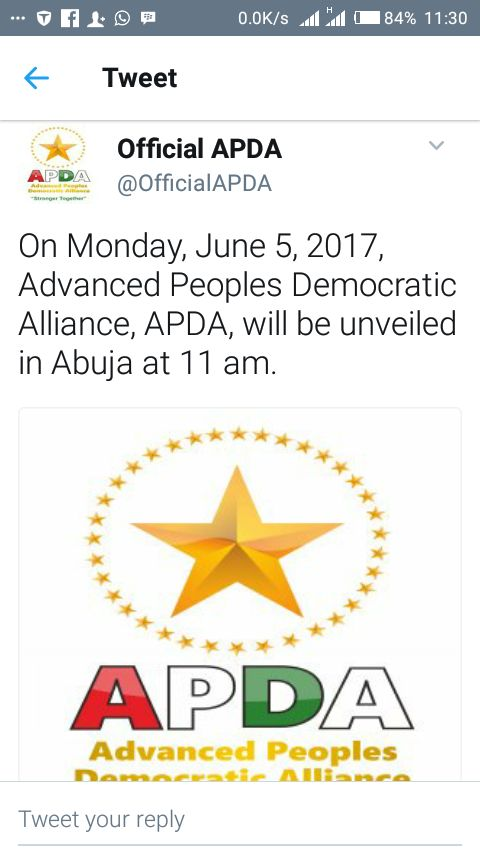 New Party, Advanced Peoples Democratic Alliance (APDA) To Be Unveiled On Monday