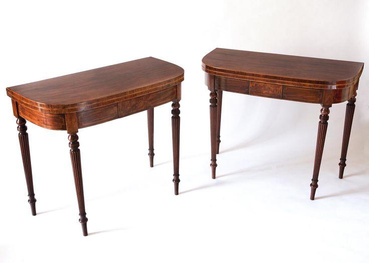 A Pair Of Regency Mahogany D Shaped Crossbanded Tea Tables Circa 1820