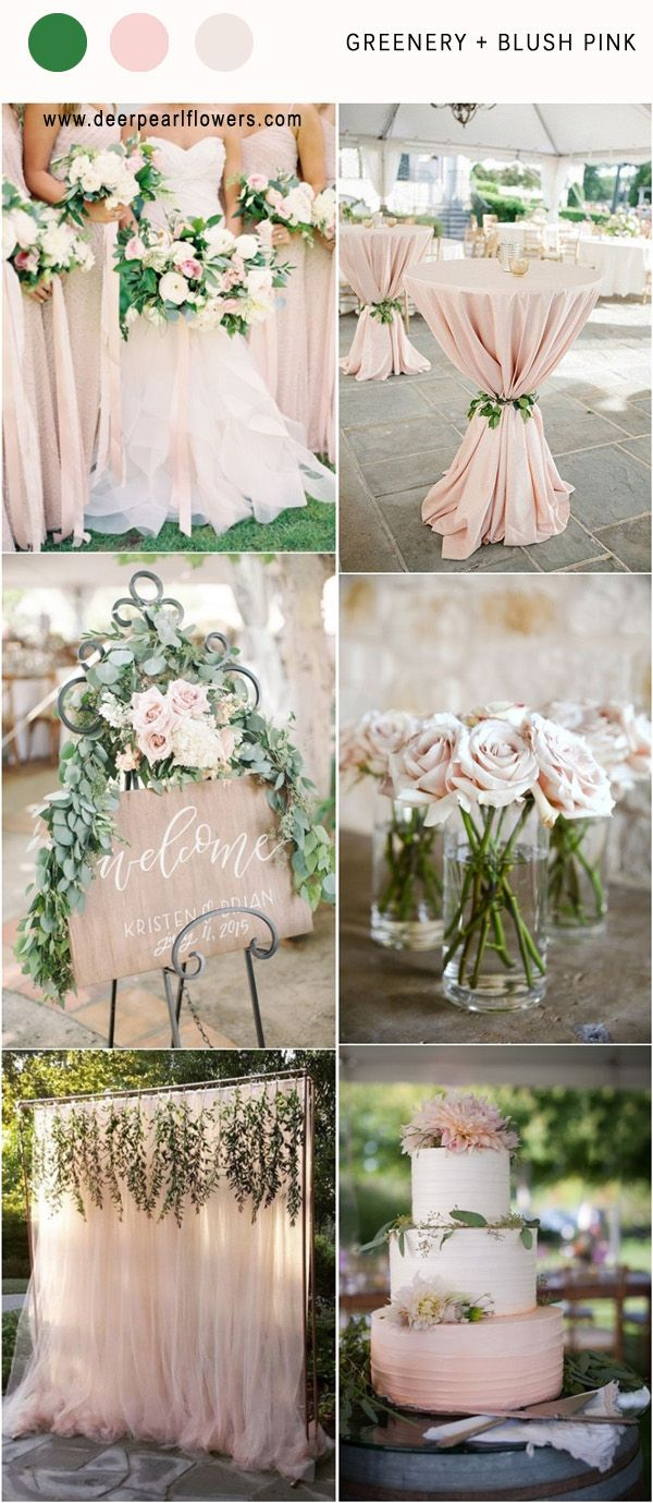 LOVE!! Green, Blush, Champagne, Silver, Brown   http://www.deerpearlflowers.com/greenery-wedding-color-palettes/