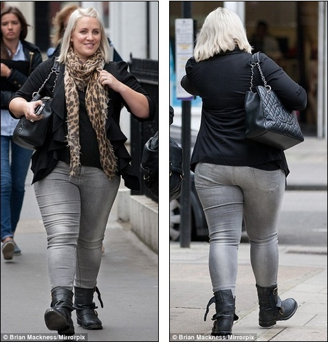 The Celebrities: Claire Richards shows off her curves in skinny jeans as she insists she's happy with her weight