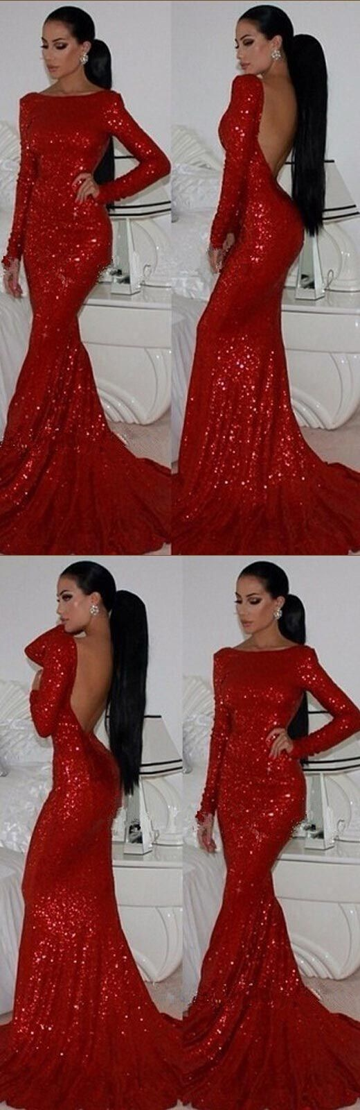 sexy prom dress, backless prom dress, full sleeve prom dress