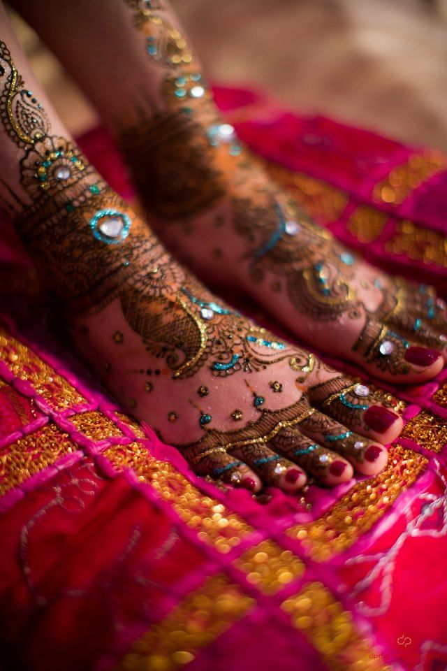 Mehndi/Henna - feet- loving all of the color and jewels  Indian
