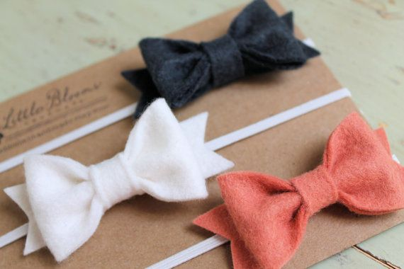 DIY headbands. 3 Felt Bow Headbands - Pick Your Colors - newborn - baby - toddler - child on Etsy, $15.00