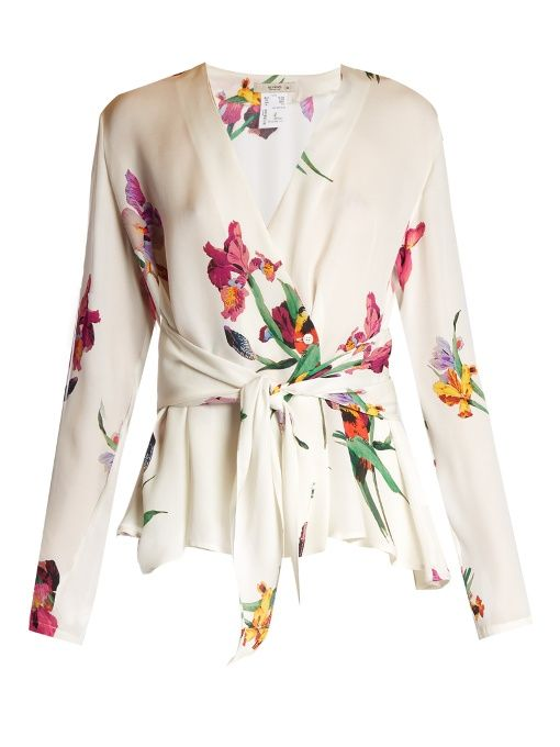 Etro Iris-print wrap silk blouse Compare Price