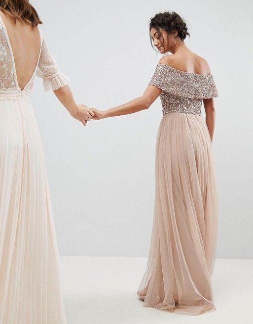 3a8dd5a31b8f7 Maya Tall Bridesmaid Bardot Sequin Top Tulle Detail Dress With High ...