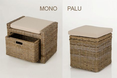 Sitzhocker MONO und PALU in Koobo-Grey