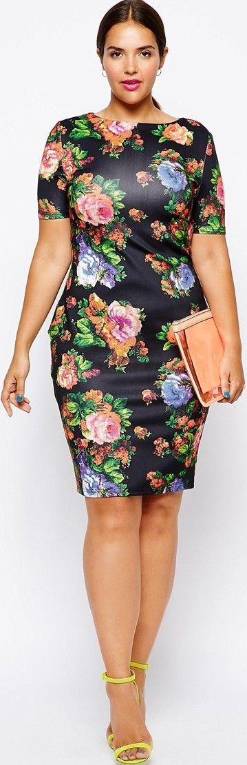 plus size floral print dress retro style #UNIQUE_WOMENS_FASHION