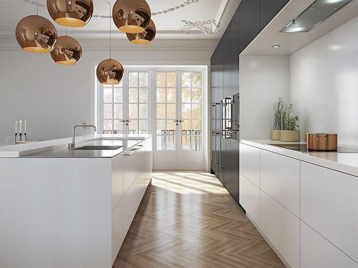 White Kitchen wood Floor copper lamps