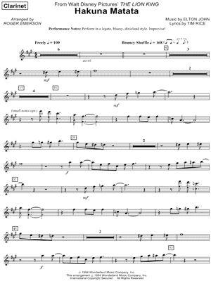 """Hakuna Matata - Clarinet Part"" from 'The Lion King' Sheet Music - Download  Print"