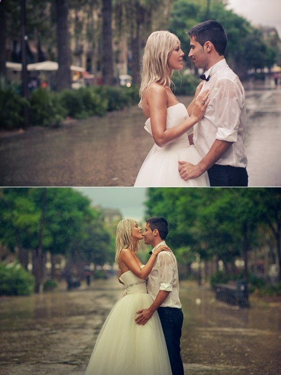 If it rains on your wedding day, embrace it! Who says a little rain has to stand in the way of your fun? Step outside for a photo shoot sans umbrella and show Mother Nature who's boss.