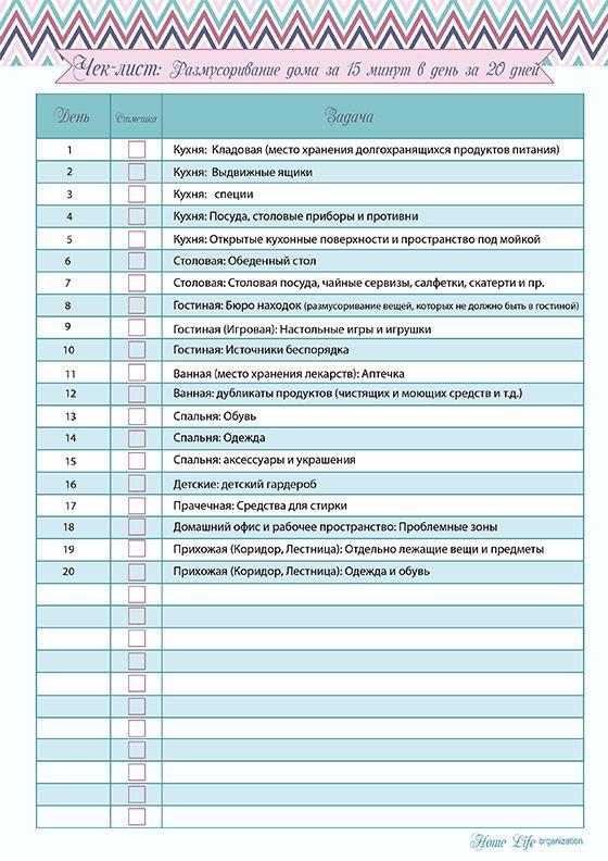 Скачать шаблон чек-листа по размусориванию дома за 20 дней в pdf