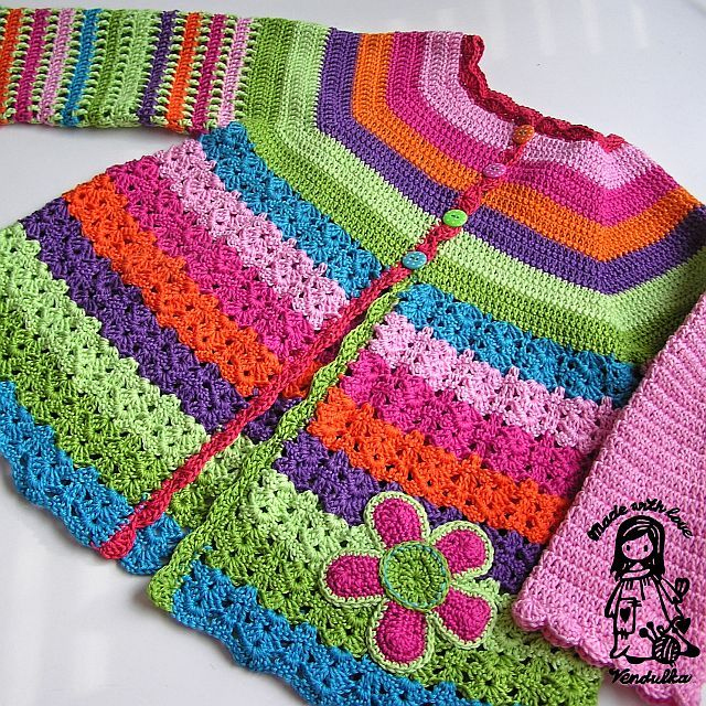 Crochet flower cardigan, free crochet pattern