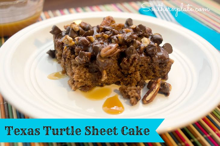Texas Turtle Sheet Cake Recipe Desserts with self rising flour, granulated sugar, butter, coffee, unsweetened cocoa powder, eggs, buttermilk, butter, unsweetened cocoa powder, buttermilk, powdered sugar, chopped pecans, semi-sweet chocolate morsels, caramel sauce