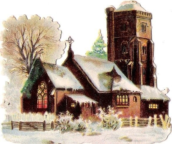 Oblaten Glanzbild scrap die cut chromo Kirche church Winter Schnee snow Zaun: