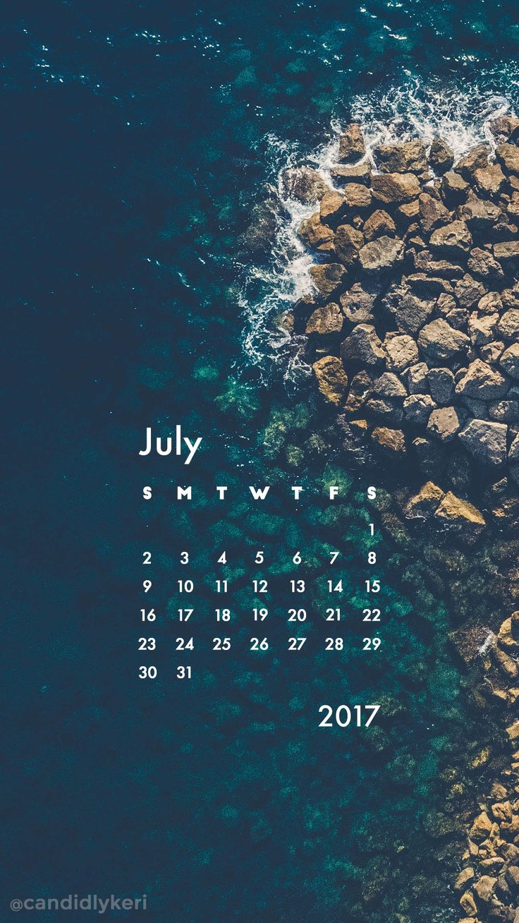 Ocean waves crashing rocks summer July calendar 2017 wallpaper you can download for free on the blog! For any device; mobile, desktop, iphone, android!