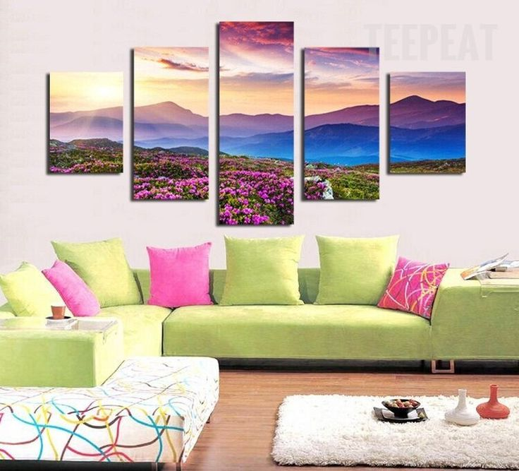 living room art prints%0A Splendid Sunset And The Mountaintop    Piece Canvas  prints  prntable   painting