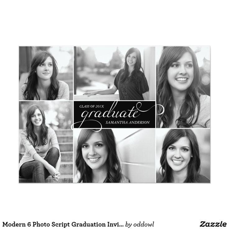 Modern 6 Photo Script Graduation Invite