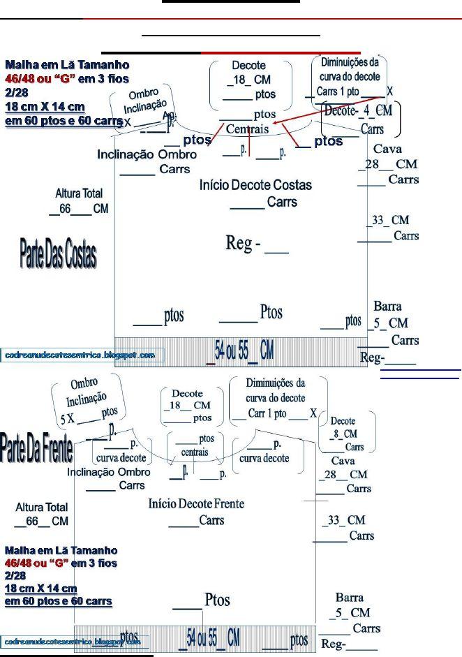 68) Receita De Tricô Á Máquina - Esquema - Pontos e Carreiras-Medidas Para Tamanho 46..48 Ou G-Fio Industrial 2/28 e Fio Cristal 3/15 - knitting machine Scheme - Points and Careers - Measure Size 46 .. 48 or G