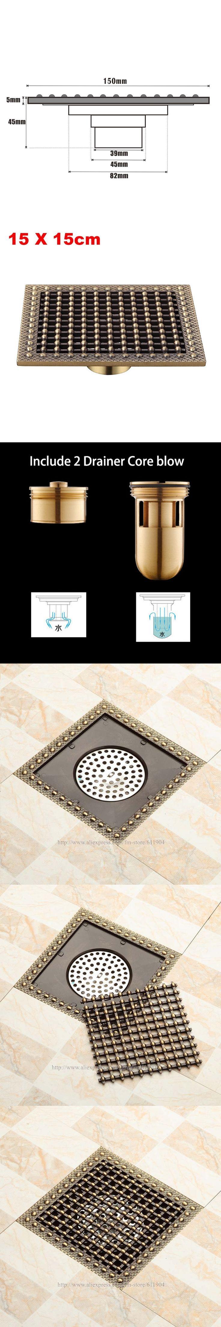 15 x 15 Square Bathroom Shower Drain Floor Drain Trap Waste Grate Antique Brass Grid Drain