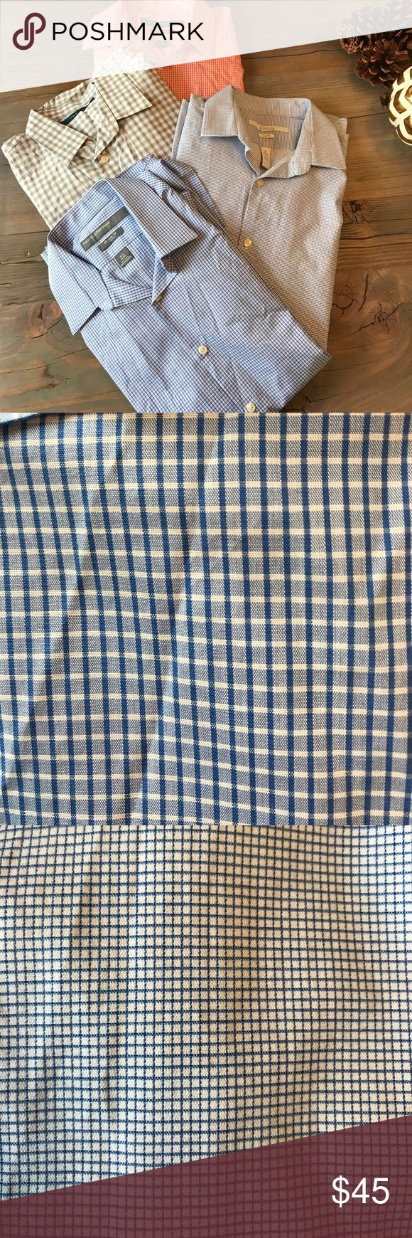 Perry Ellis dress shirt bundle. Men's Perry Ellis dress shirt bundle. 4 shirts all size medium. Hardly worn and in good condition! All cuffs have two buttons to make adjustable. No missing buttons or stains. Colors: royal blue & white, blue & white, black & white, orange & white. Perry Ellis Shirts Dress Shirts