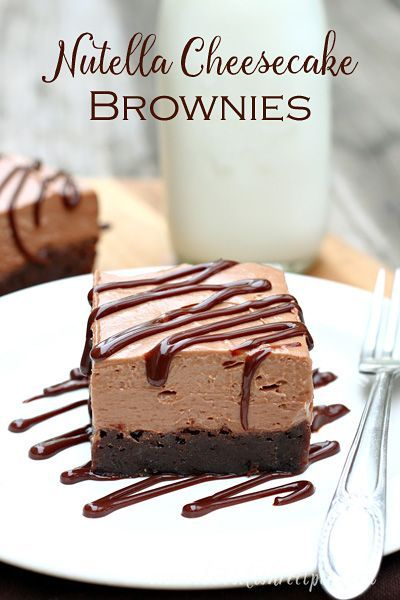 Nutella Cheesecake Brownies | Dense chewy brownies topped with creamy no-bake Nutella cheesecake.