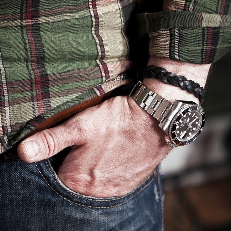 www.877workshop.com — Men's black bracelet braided leather anchor Sterling Silver