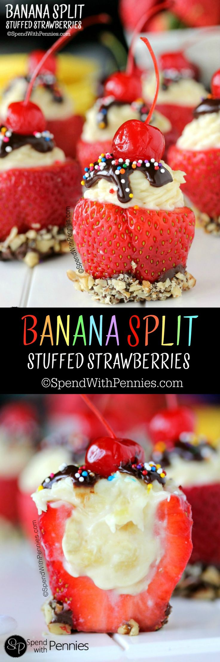 Banana Split Stuffed Strawberries!  These yummy treats are easy to make and perfect for summer!  No baking required!
