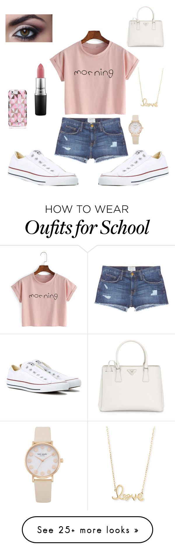 """School"" by lisanne-schapendonk on Polyvore featuring Current/Elliott, Kate Spade, Converse, MAC Cosmetics, Prada, Sydney Evan, Summer, school, everyday and goals"