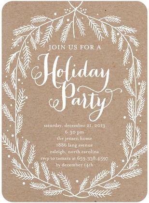 Crafted Branches - Flat Holiday Party Invitations - Ann Kelle - White : Front