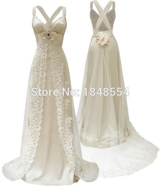 Aliexpress.com : Buy Free Shipping MZY245 Lace Satin Floor Length A line Cross Back Tulle Sexy S ...