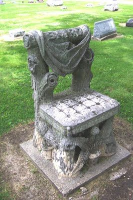 The Devil's Chair in Cassadaga, Cemetery, Florida is a graveside bench. Local legend depicts the devil as a good-ol'-boy image. If you sit in the chair, you run the chance of having a heart-to-heart with the Lord of Darkness, who is rumoured to show up anyone who dares to wait for him there.