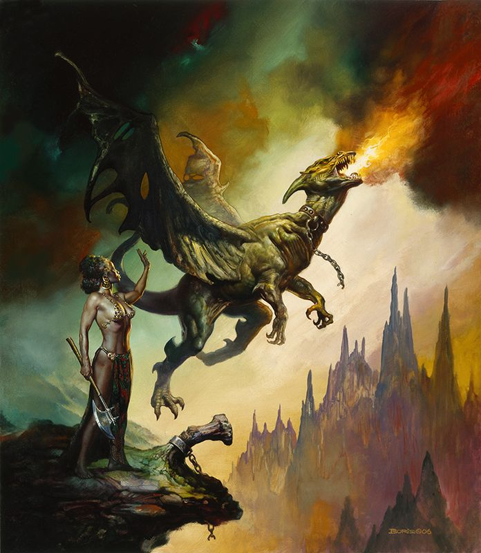Boris Vallejo: Freedom, at artrenewal.org {Dragon unchained by lady}