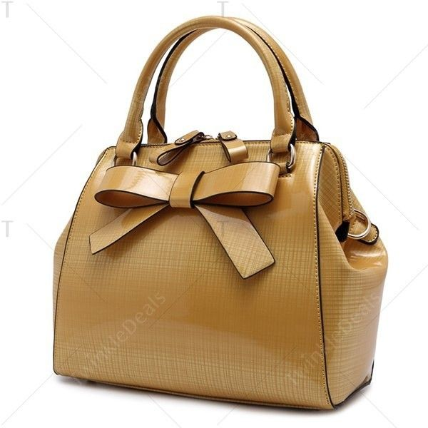 Bowknot PU Leather Tote Bag ($20) ❤ liked on Polyvore featuring bags, handbags, tote bags, handbags totes, tote handbags, brown tote, brown purse and brown tote purse