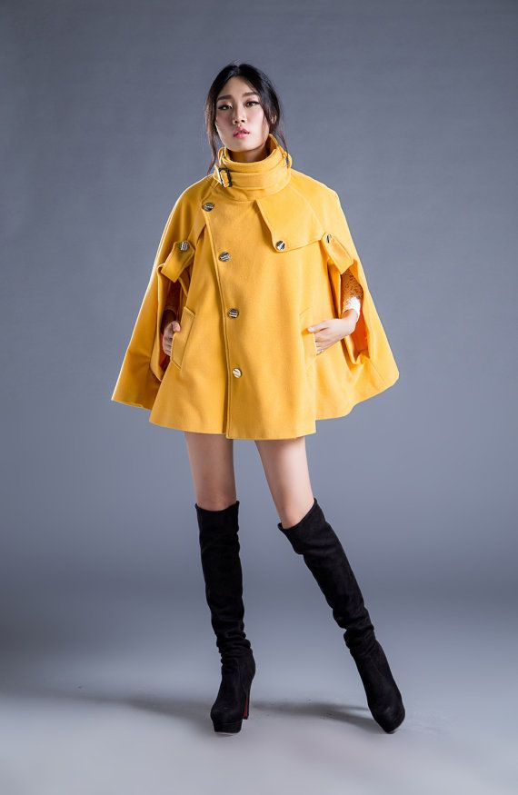 Hey, I found this really awesome Etsy listing at https://www.etsy.com/listing/204831015/yellow-women-wool-cape-coat-with-belted