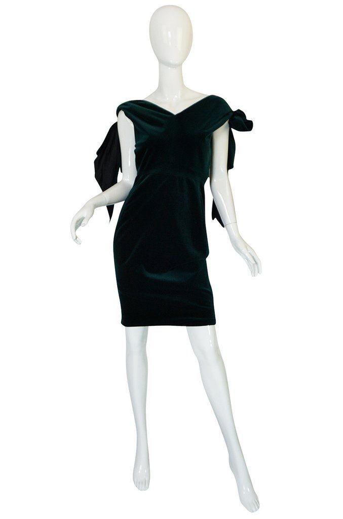Dramatic 1980s Antony Price Bottle Green Velvet Dress
