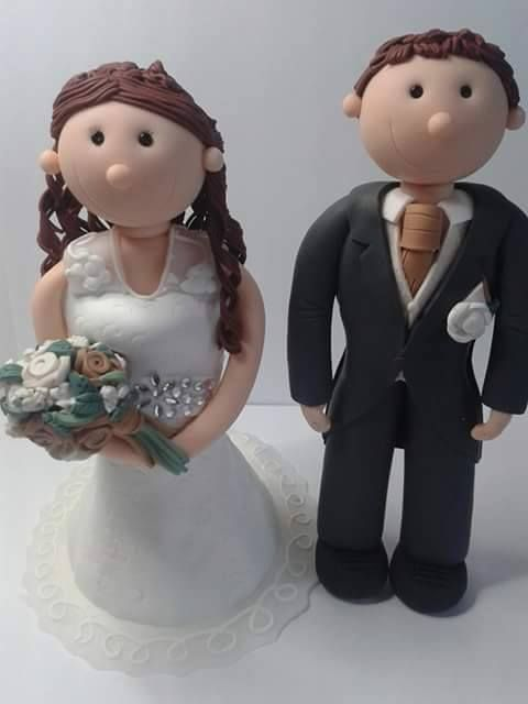 Fully personalised wedding cake toppers. Handcrafted from polymer clay.