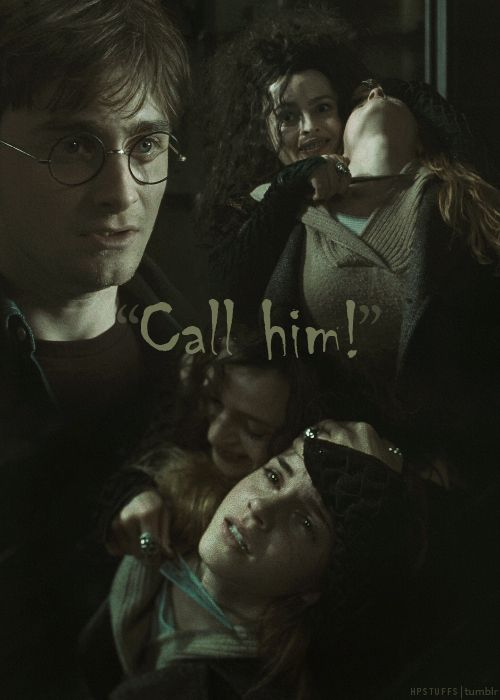 Bellatrix, Hermione, and Harry--2 of my favorite characters and one of my least.