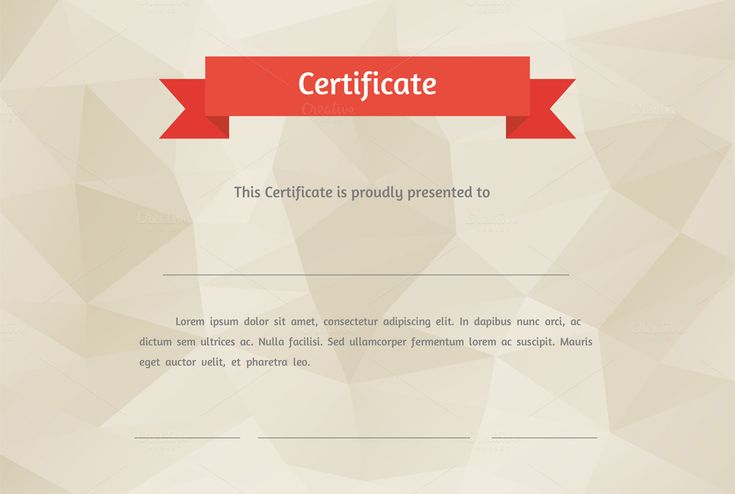 Vector flat style certificate by Eugenia Hauss Design on Creative Market