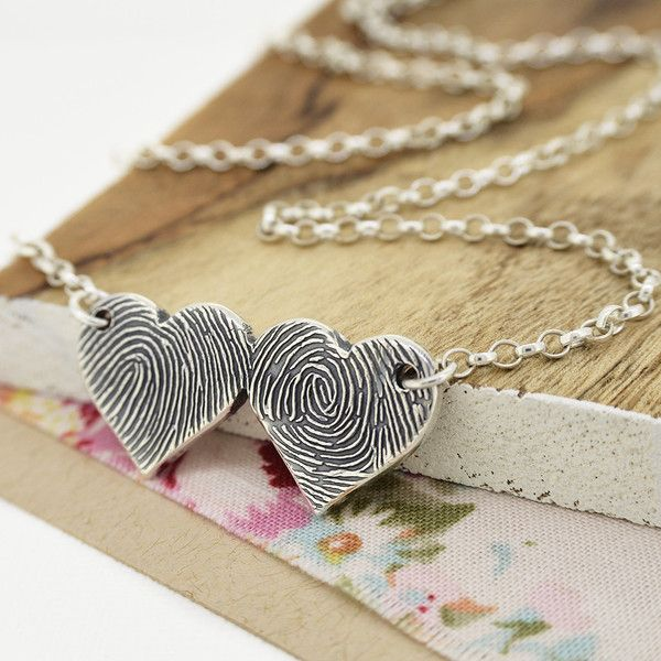 CAST INK FINGERPRINT DOUBLE HEART NECKLACE