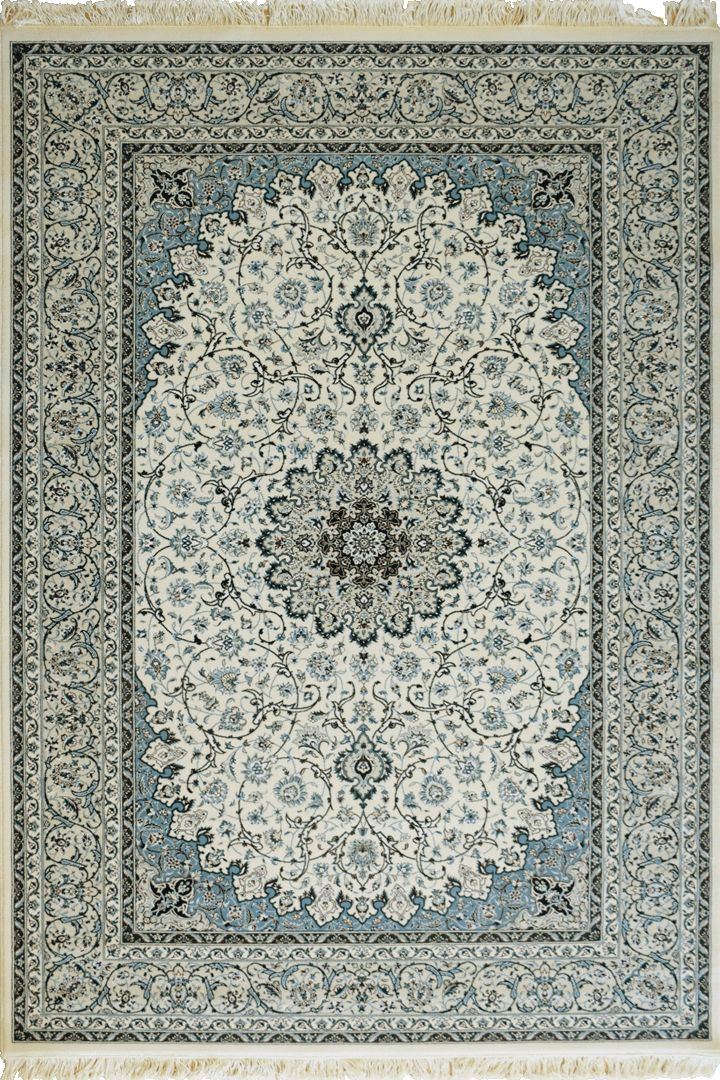 Caspian Persian Wool Medallion Rugs  75038 White Caspian Persian rugs have been crafted using premium wool featuring hand knotted fringes. A heavy quality rug that is beautifully soft to the touch with classic patterns inspired by master weavers of old, a touch of luxury for modern or classic spaces.