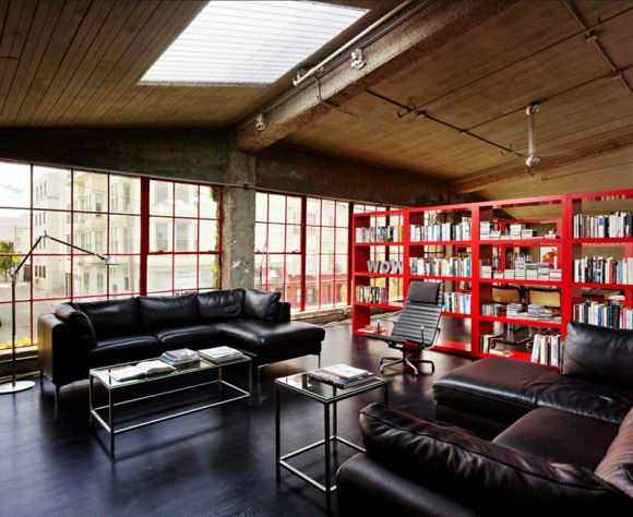 A reused space, an art gallery in San Francisco was turned into a private house, great space.
