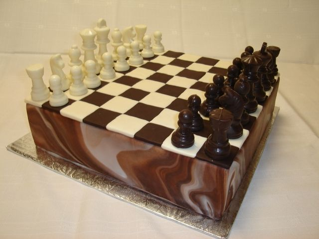 Chess Board Marbled Fondant Covered Cake With White And