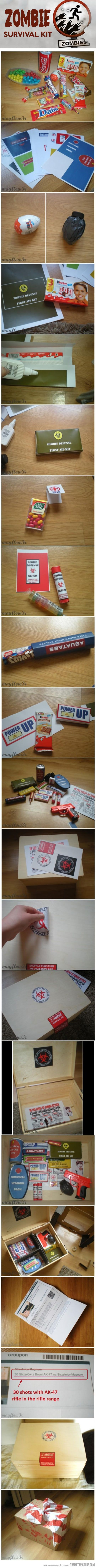 "Amazing zombie survival kit gift box this would even be a good idea for a ""first aid"" kit"