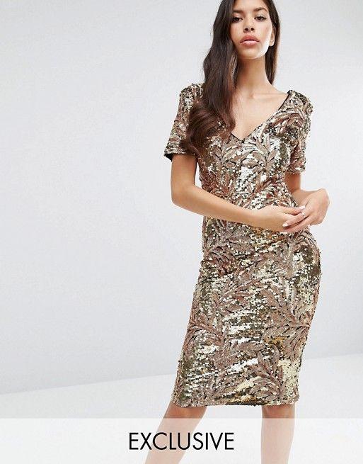 Club L | Club L Sequin Midi Dress with Cap Sleeve